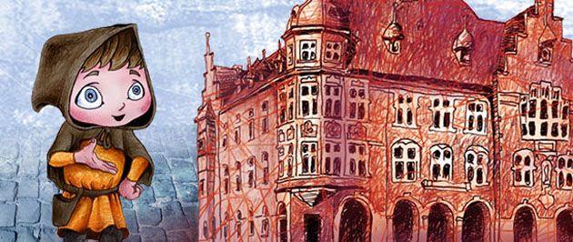 Z lewej strony kolorowy rysunek gwarka a z prawej Ratusza.