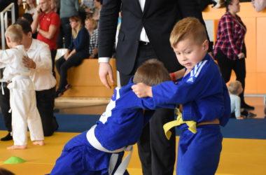 Dwóch chłopców w niebieskich judokach pojedynkuje się. Przy nich stoi sędzia, który obserwuje pojedynek. W tle dzieci i dorośli widzowie na trybunach.
