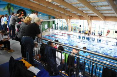 Widzowie obserwują z góry, z trybun pływaków w basenie.