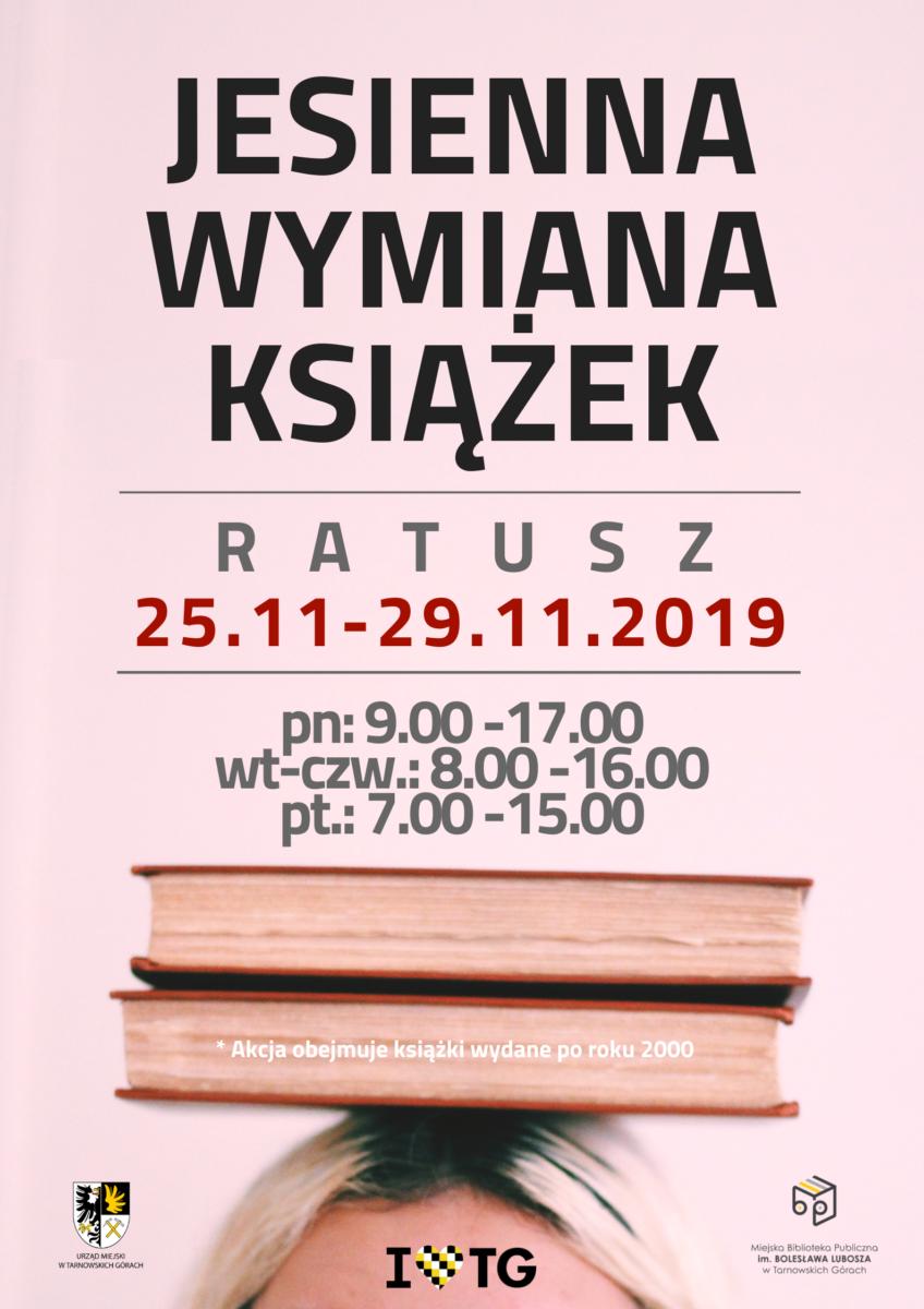 Plakat wydarzenia Jesienna wymiana książek w Ratuszu