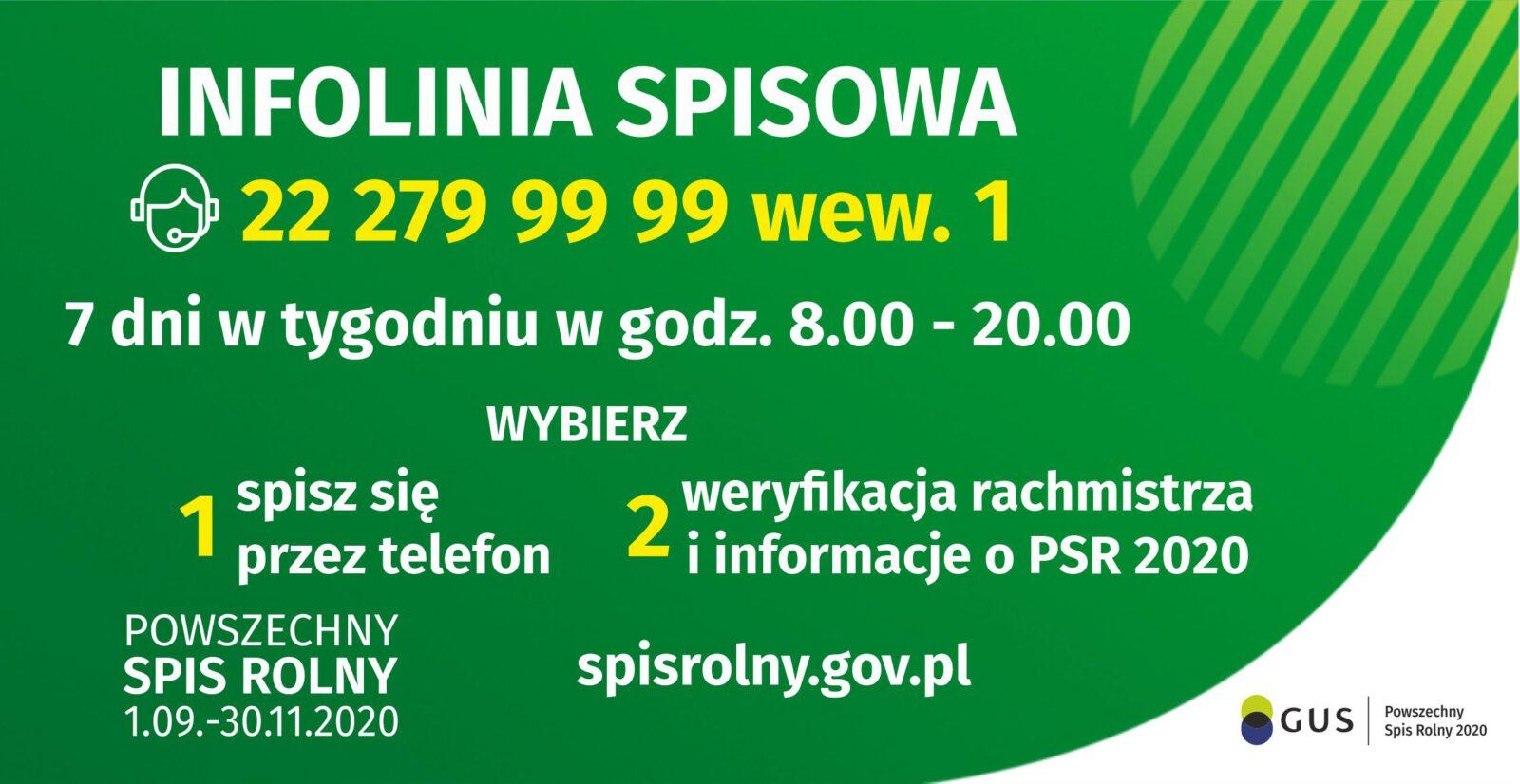 Powszechny spis rolny - infolinia 22 2799999 wew 1