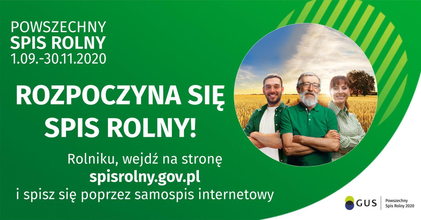 Powszechny spis rolny - rozpoczyna się 01.09.2020 trwa do 30.11.2020