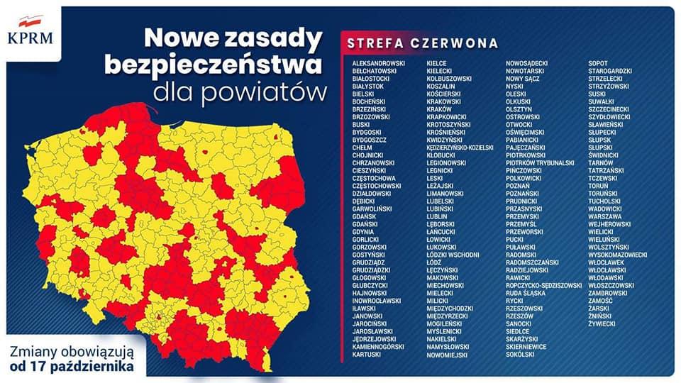 Nowe zasady bezpieczeństwa dla powiatów od 17.10.2020