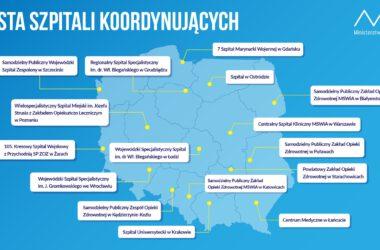 Lista szpitali koordynujących Ministerstwa Zdrowia