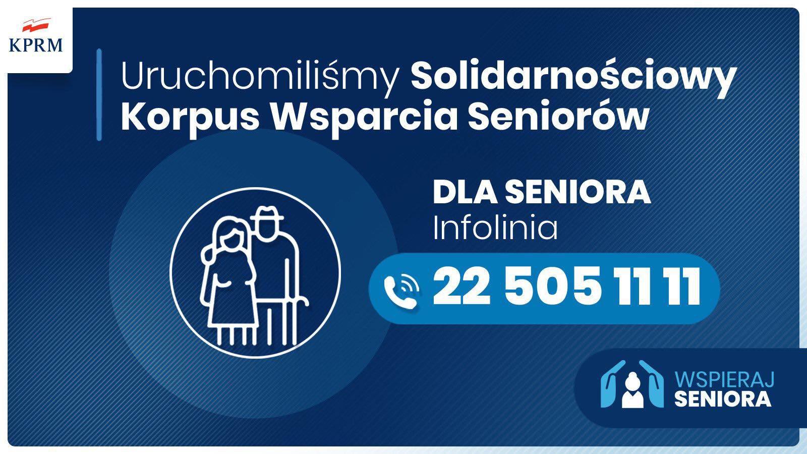 KPRM Solidarnościowy Korpus Wsparcia seniorów w związku z COVID-19 numer telefonu 22 5051111