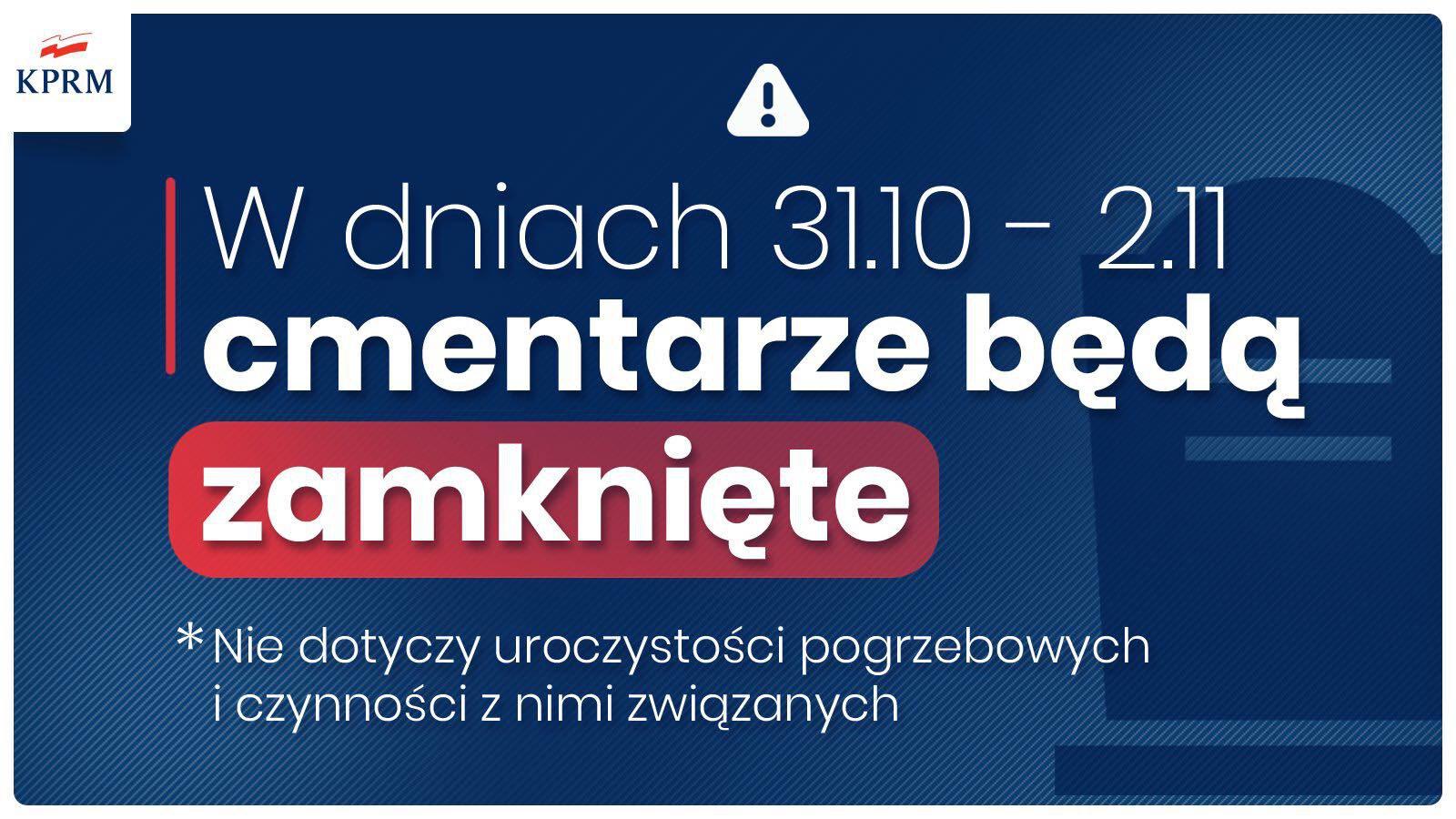 Informacja o zamknięciu cmentarzy 31.10.2020 - 02.11.2020