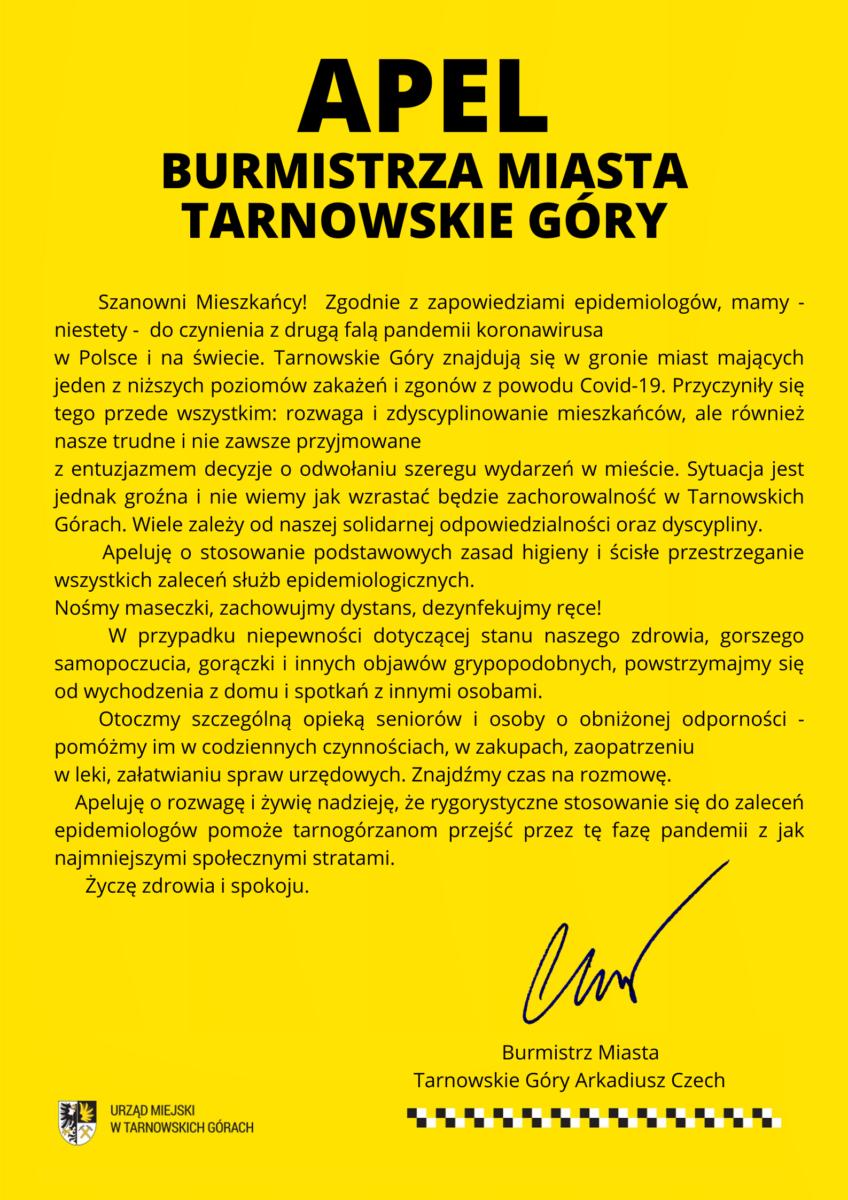 Apel Burmistrza Miasta Arkadiusza Czecha : Treść apelu