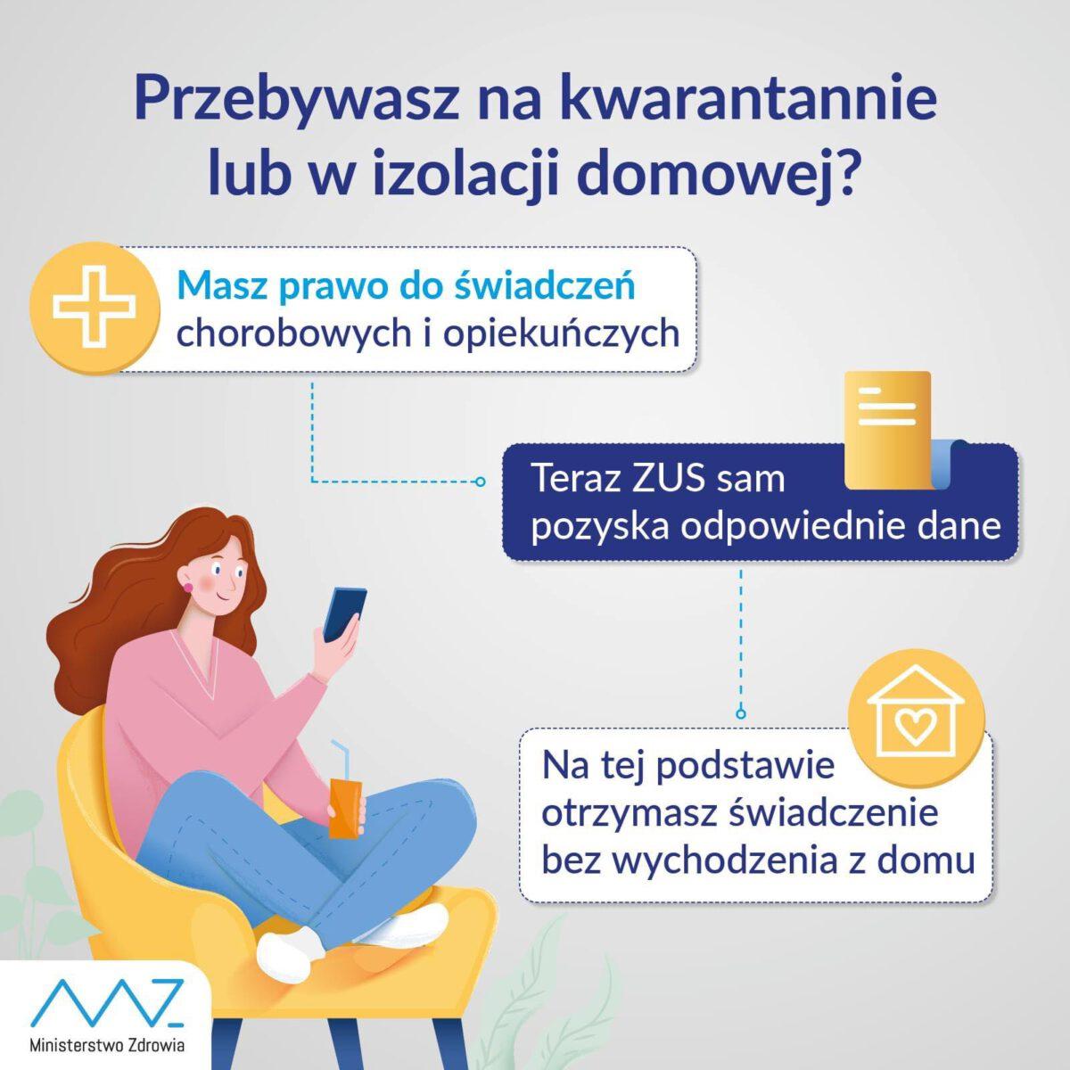 Kwarantanna - grafika informacyjna Ministerstwa Zdrowia