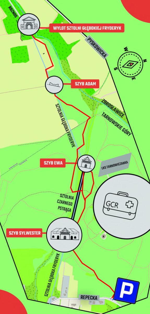Mapa dojścia na wylotu Sztolni Głębokiej Fryderyk