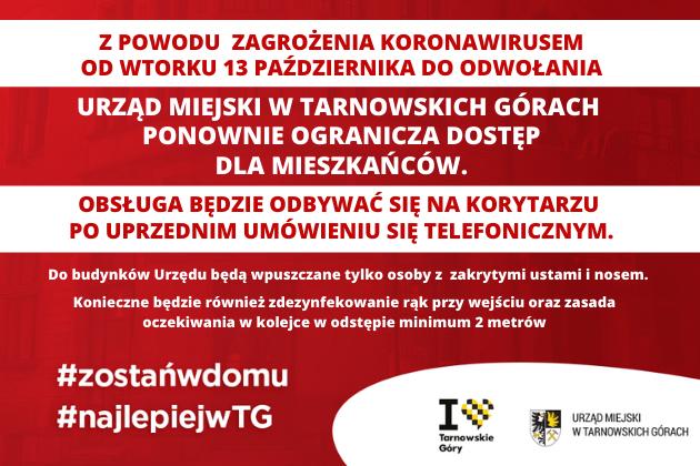COVID19 - Urząd Miejski w Tarnowskich Górach ograniczony dostęp dla mieszkańców od wtorku 13 października 2020