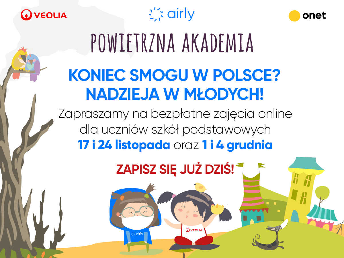 Koniec smogu w Polsce - zaproszenie na zajęcia online. 17 i 24 listopada oraz 1 i 4 grudnia