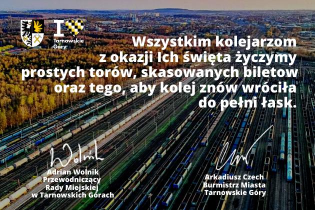 Życzenia dla kolejarzy z okazji ich święta od władz miasta Tarnowskie Góry