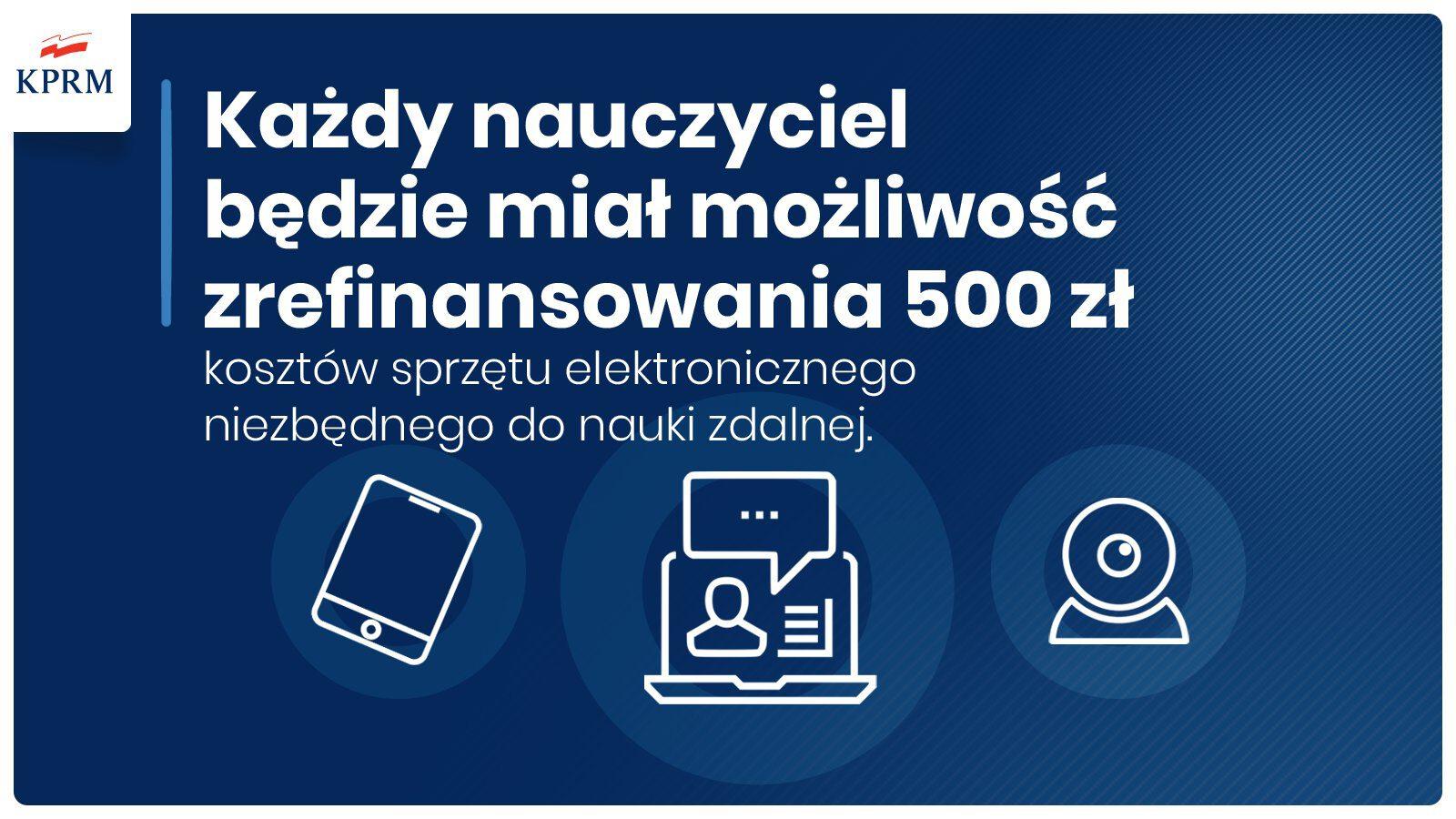 Refinansowanie kosztów sprzętu elektronicznego potrzebnego do nauczania dla nauczycieli do wysokości 500 pln