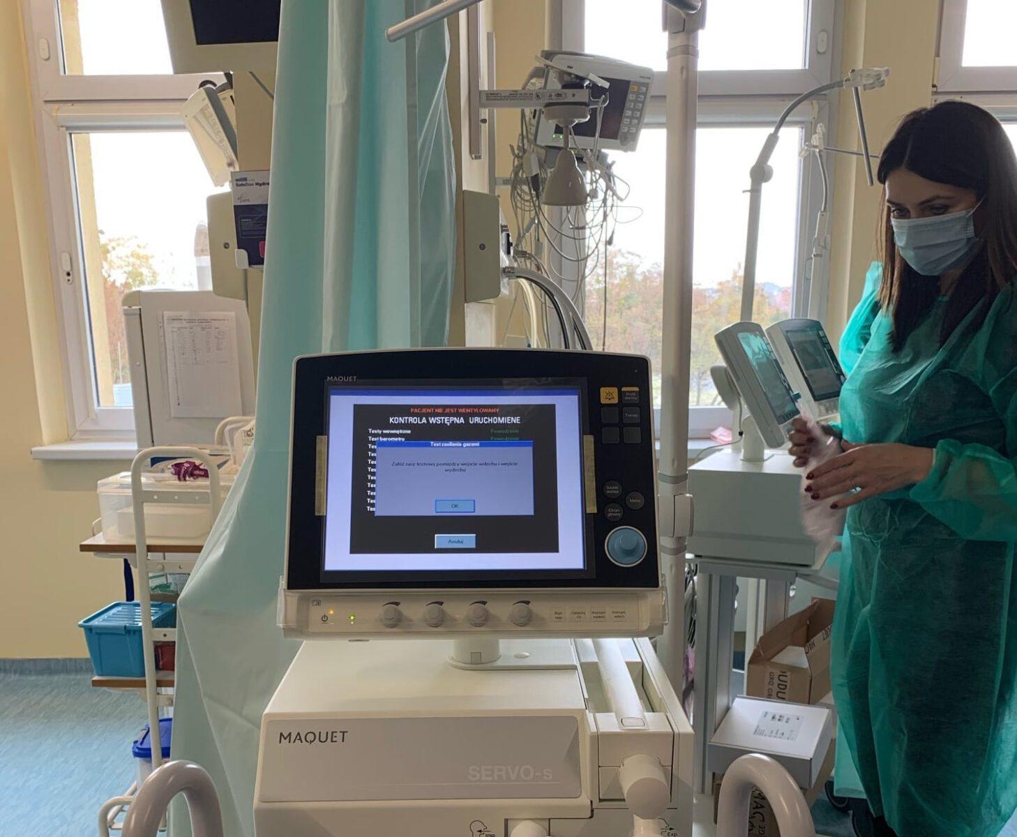 Respirator - ilustracja - wnętrze szpitala