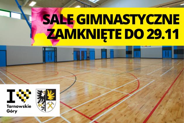 Informacja o zamknięciu sal gimnastycznych do 29.11.2020 - infografika