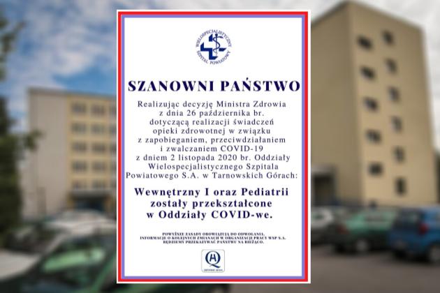 Informacja o przekształceniu oddziałów Wielospecjalistycznego Szpitala Powiatowego w oddziały COVIDOWE