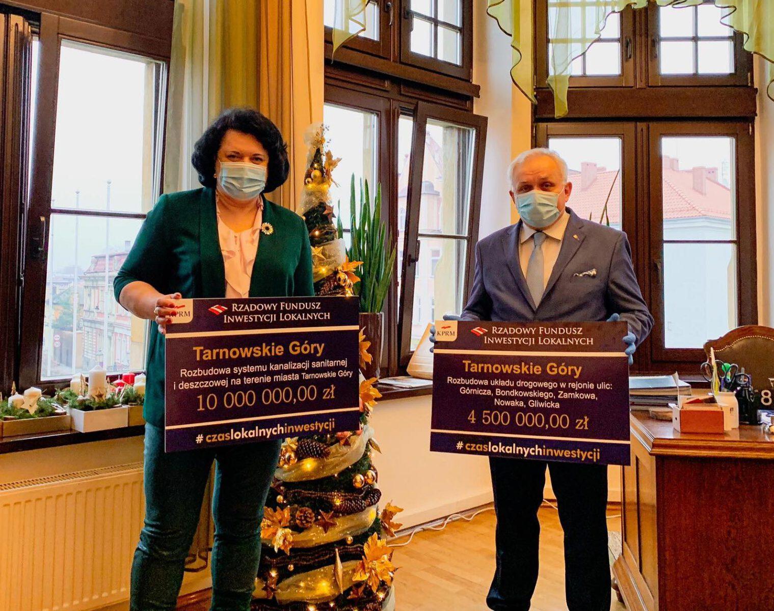 18 milionów dla miasta z RFIL - na zdjęciu Poseł Barbara Diuk i burmistrz Arkadiusz Czech