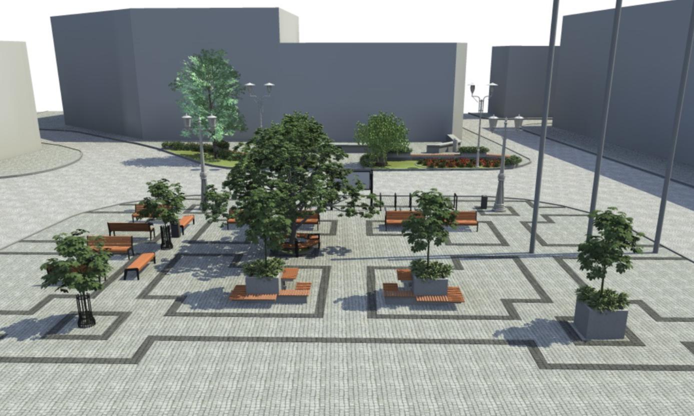 Projekt przebudowy Rynku w Tarnowskich Górach. Widok wygenerowany komputerowo.