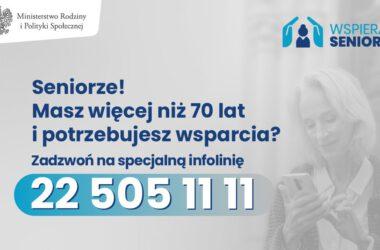 Infolinia dla seniorów 70 plus 22 5051111 - infografika