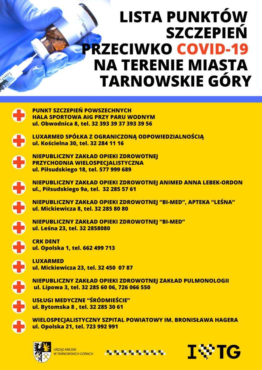 lista punktów szczepień przeciw Covid 19 w Tarnowskich Górach