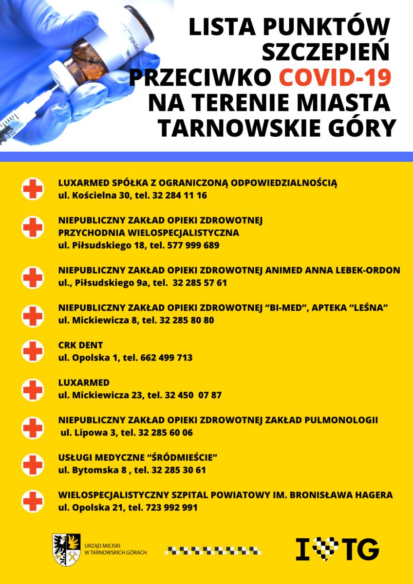 Lista punktów szczepień przeciwko COVID 19 na terenie miasta Tarnowskie Góry - infografika