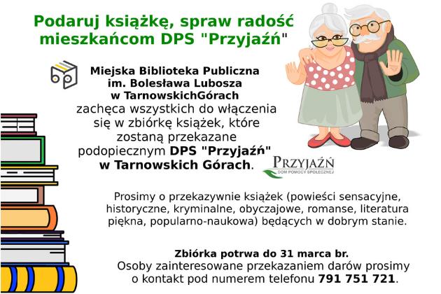 Zbiórka książek dla podopiecznych DPS Przyjaźń - infografika
