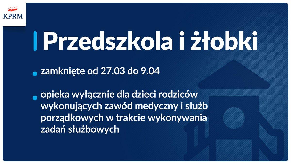 Przedszkola i żłobki zamknięte do 09.04.2021 - infografika