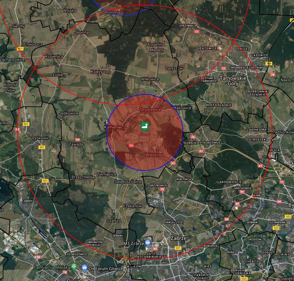 Ognisko HPAI Wieszowa pow. tarnogo rski 2_2021 - zasięgi obszarów