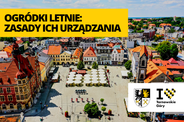 Rynek w Tarnowskich Górach ujęcie z lotu ptaka.