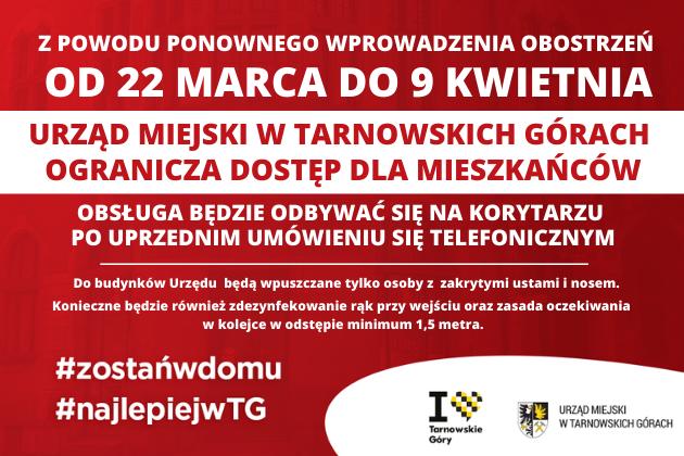 Od 22 marca do 9 kwietnia Urząd miejski ogranicza dostęp dla mieszkańców - infografika
