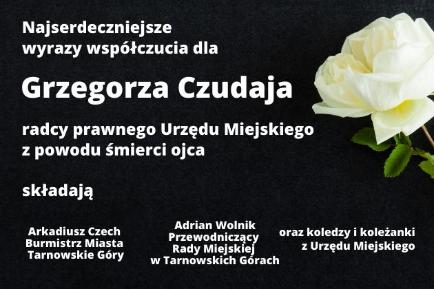 Kondolencje na czarnym tle z białą różą w prawym rogu.