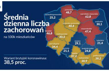 Średnia dzienna liczba zachorowań COVID 19 - infografika