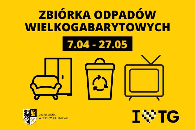 Infografika na żółtym tle - Zbiórka odpadów wielkogabarytowych