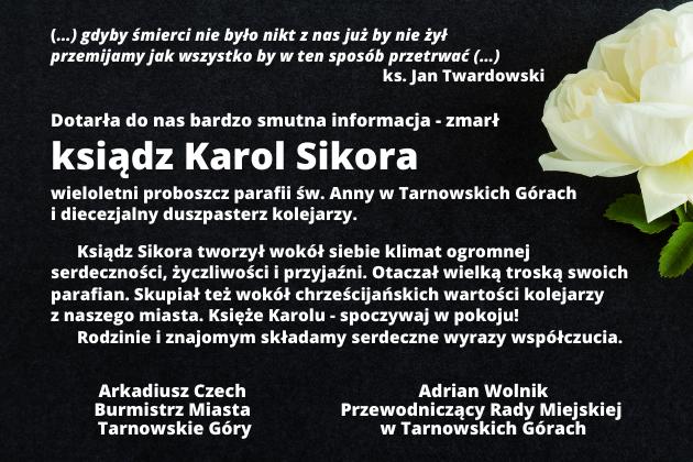 Informacja i śmierci księdza Karola Sikory
