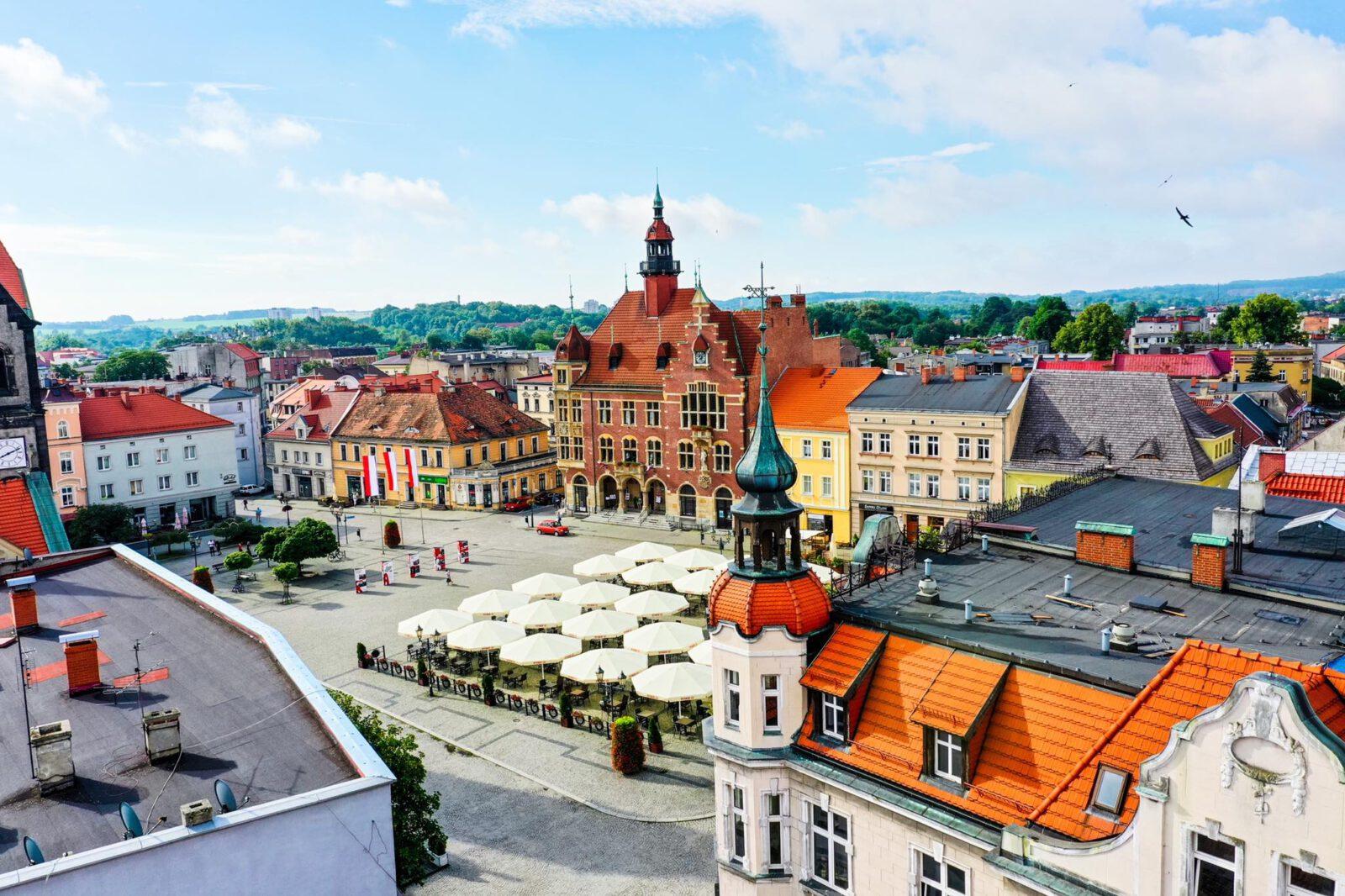 Widok na Rynek w Tarnowskich Górach z lotu ptaka