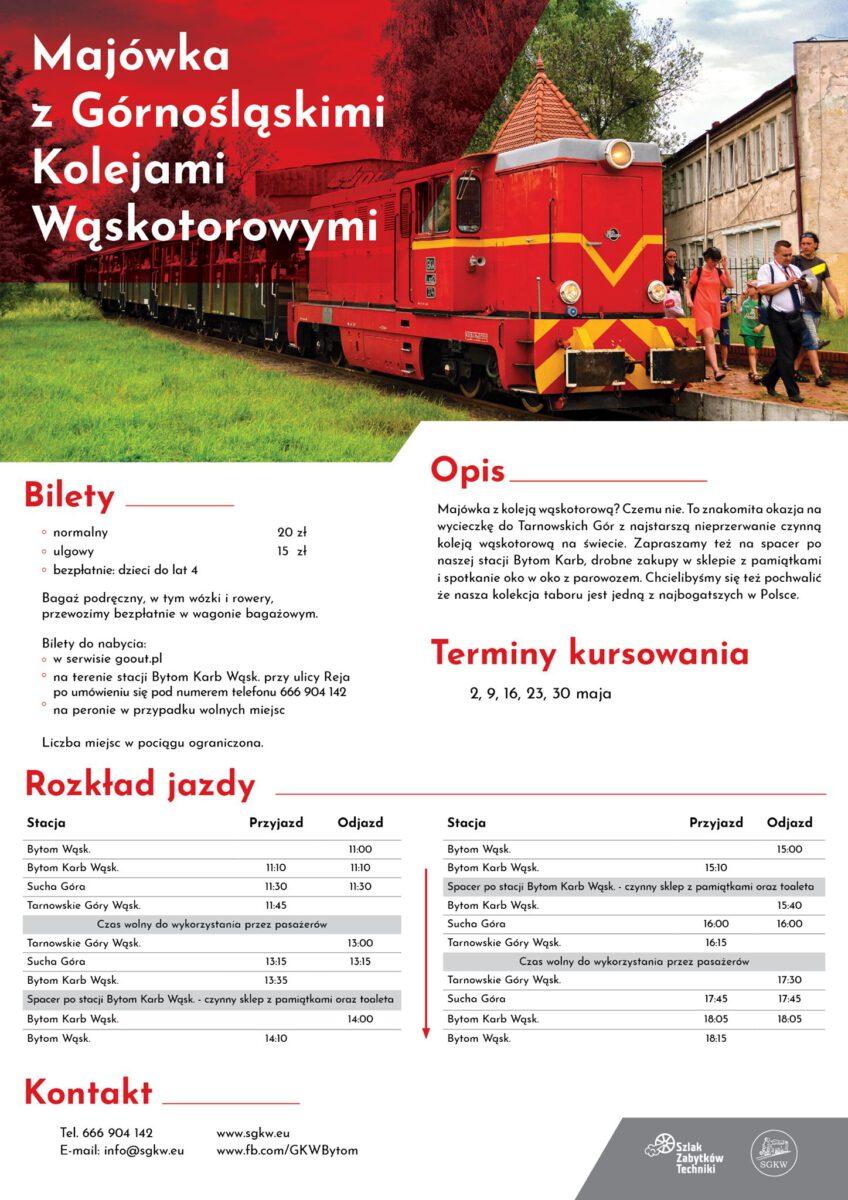 Majówka z Górnośląskimi Kolejami Wąskotorowymi - infografika