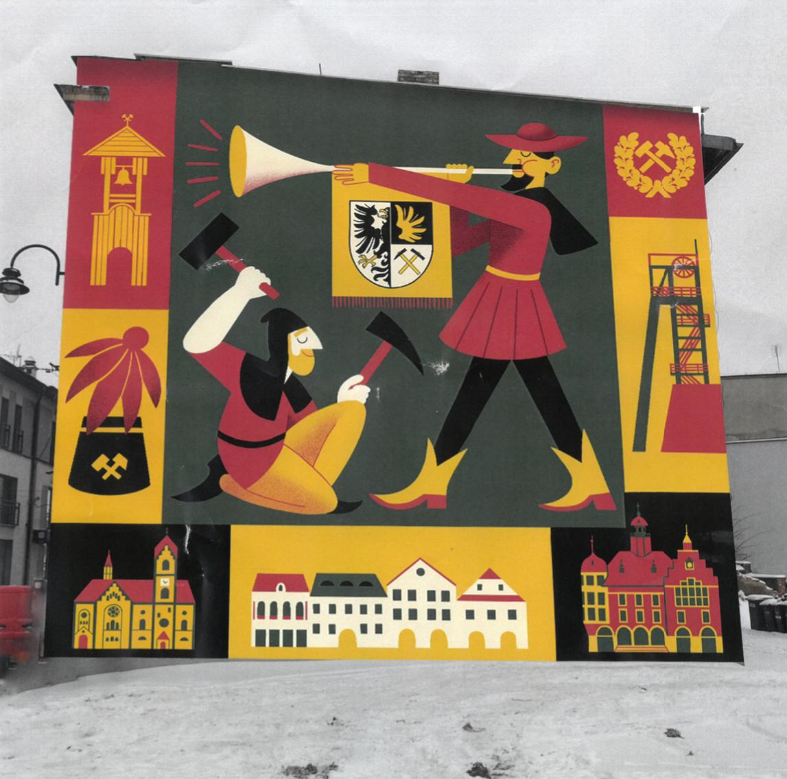 Mural na ścianie budynku. Herb, gwarek, podcienia, szyb kopalni, dzwonnica, czapka górnicza, ratusz, kościół ewangelicki - wszystko w tonacji czarnej, szarej, żółtej i czerwonej.