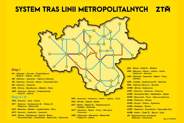 System tras linii metropolitalnych ZTM - infografika