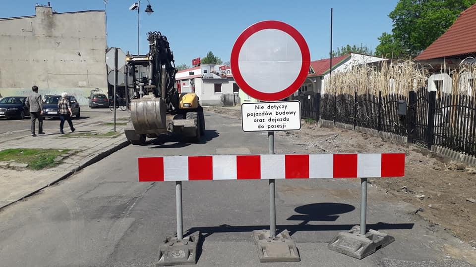 Przebudowa ulic Szymały i Królika - zdjęcie zamkniętej drogi