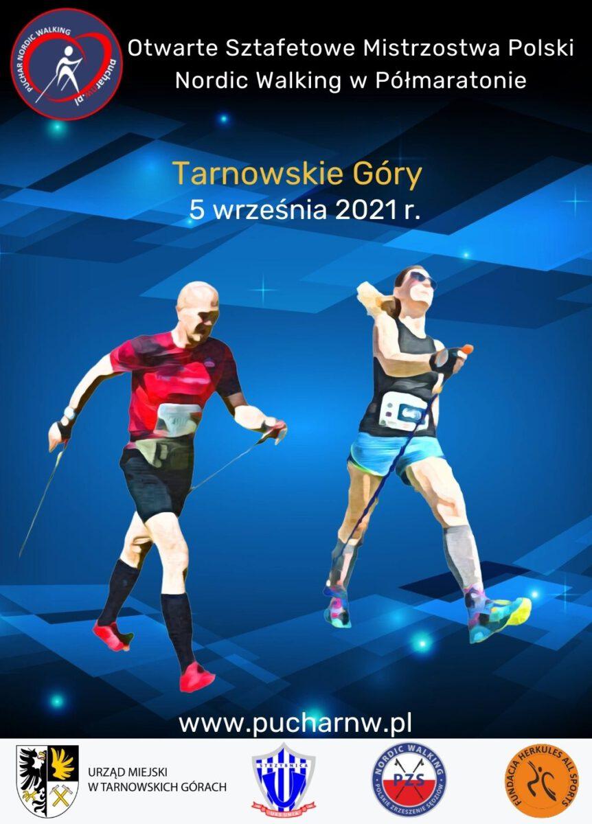 Otwarte Sztafetowe Mistrzostwa Polski Nordic Walking 5 września 2021 Tarnowskie Góry - infografika