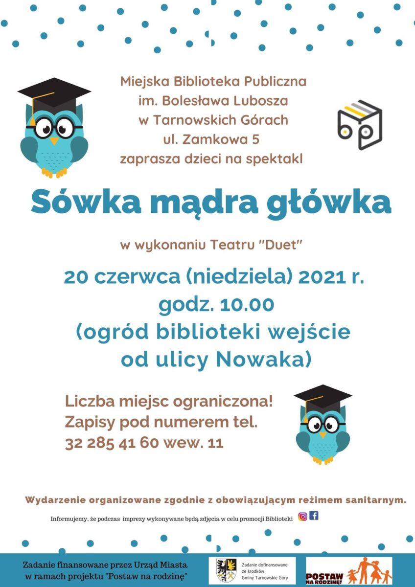 Spektakl - Sówka mądra główka - Miejska Biblioteka Publiczna- infografika
