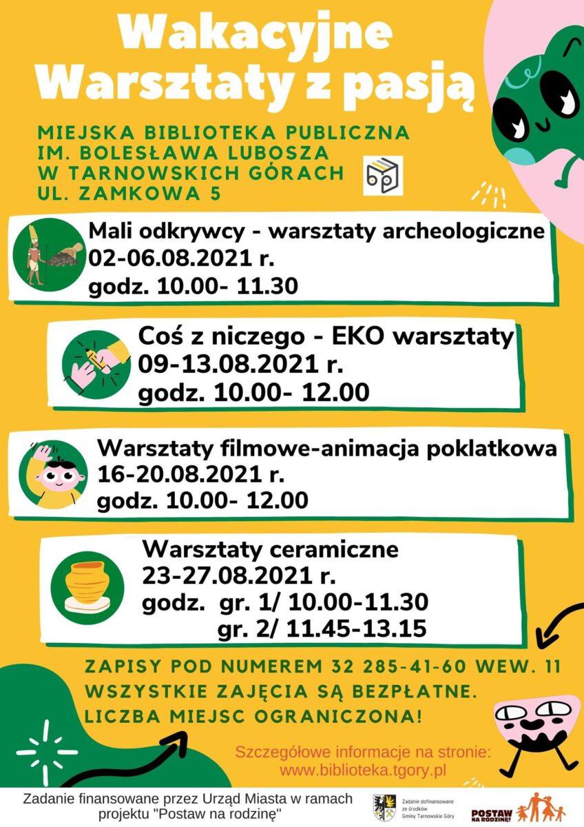 Wakacyjne warsztaty z pasją żółto zielona infografika