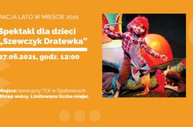 infografika. Kukiełka Szewczyka Dratewki z igłą w ręce.