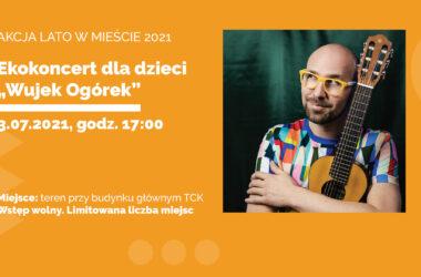 infografika - Mężczyzna w żółtych okularach i kolorowej koszulce, trzymający gitarę.