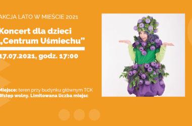infografika - koncertu dla dzieci. Kobieta w stroju Jagódki.