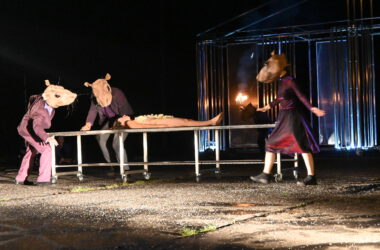 Naga kobieta na stole i 3 aktorów przebranych za myszy