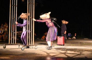 3 aktoró przebranych za myszy w fioletowych strojach. Po środku czerwona walizka na kółkach.