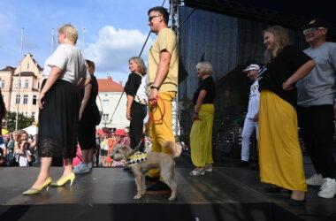 Grupa uczestników pokazu mody tarnogórskiej na scenie, wśród nich mężczyzna z psem.