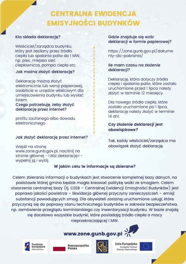 Infografika w temacie centralnej ewidencji emisyjności budynków