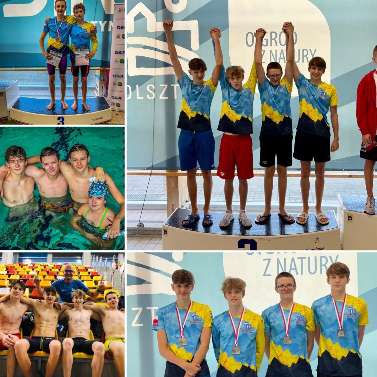 Czterech pływaków w sportowych strojach kolaż pięciu zdjęć